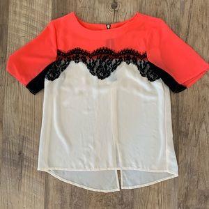 Xhiliration Dressy Short Sleeve Shirt Juniors XS